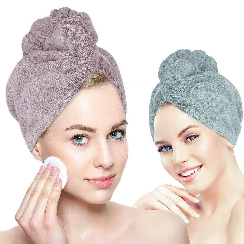 Organic Bamboo hair towel wrap Turban, YesTree Microfiber Quick Dry Hair Turban Wrap with Button, Quick Magic Dryer, Dry Hair Hat, Wrapped Bath Cap(2Pack, Green+Pink)
