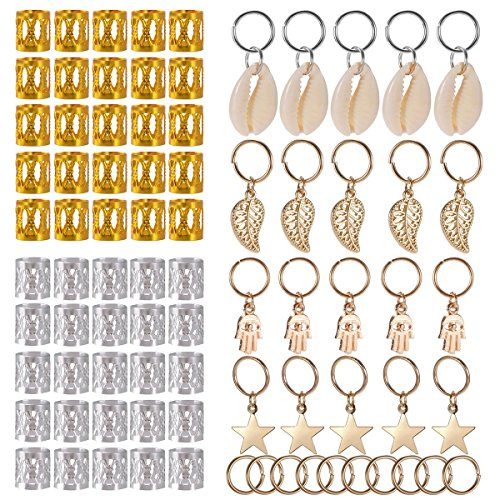 SoulBay 80 Pieces Hair Jewelry Rings Decorations Pendants, Including 50 PCS Aluminum Dreadlocks beads Metal Cuffs + 30 PCS Hair Decorations Rings Clips - Jamaican Black Castor Oil & Hair Repair