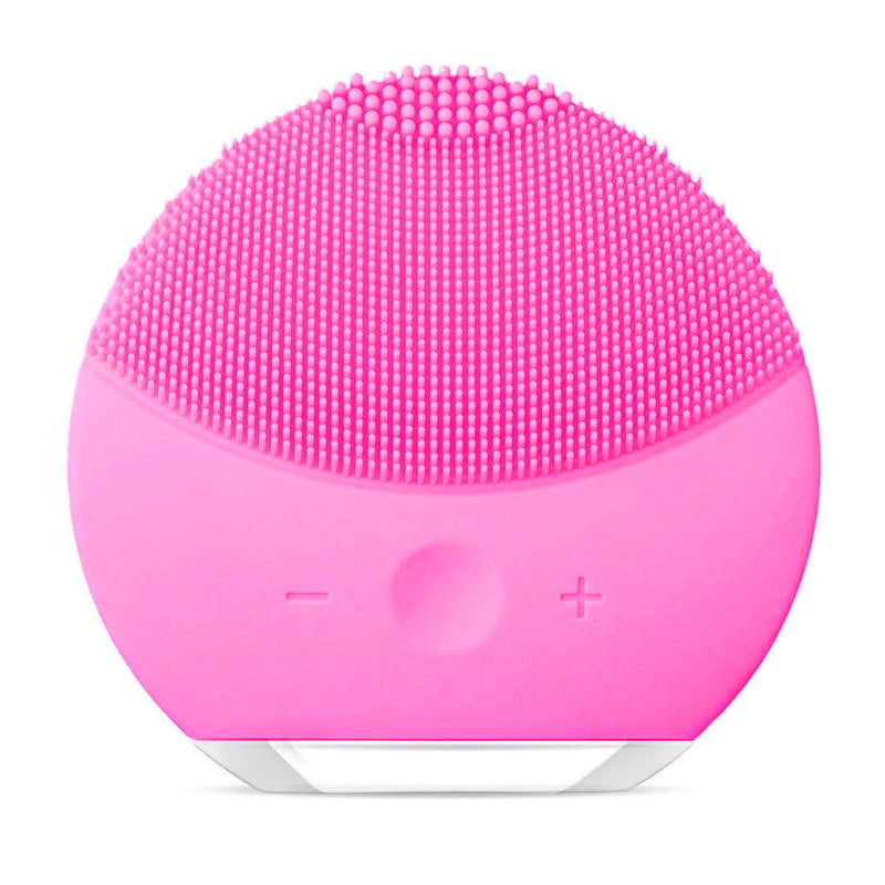 Silicone Facial Cleanser, Facial Cleansing Brush Sonic Electric Waterproof Silicone Face Massager Anti-Aging Skin Cleansing System for All Skin Types (rose red)