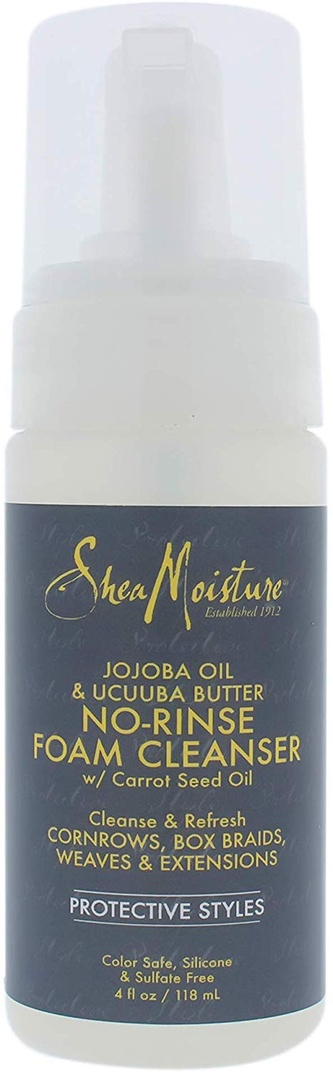 Shea Moisture Jojoba Oil and Ucuuba Butter No-Rinse Foam Cleanser by Shea Moisture for Unisex - 4 oz Cleanser, 181.44 grams: Free Shipping - Jamaican Black Castor Oil & Hair Repair