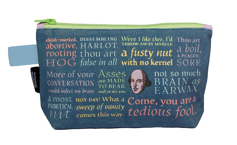 "Shakespearean Insults Bag - 9"" Zipper Pouch for Pencils, Tools, Cosmetics and More"