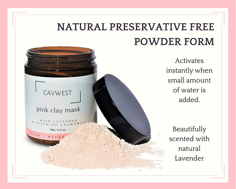 Pink Clay Mask with Botanicals for Sensitive Skin, Face Detox & Cleanse, Control & Treat Acne with Australian Kaolin Clay Powder, Vegan, Natural & Organic 90g