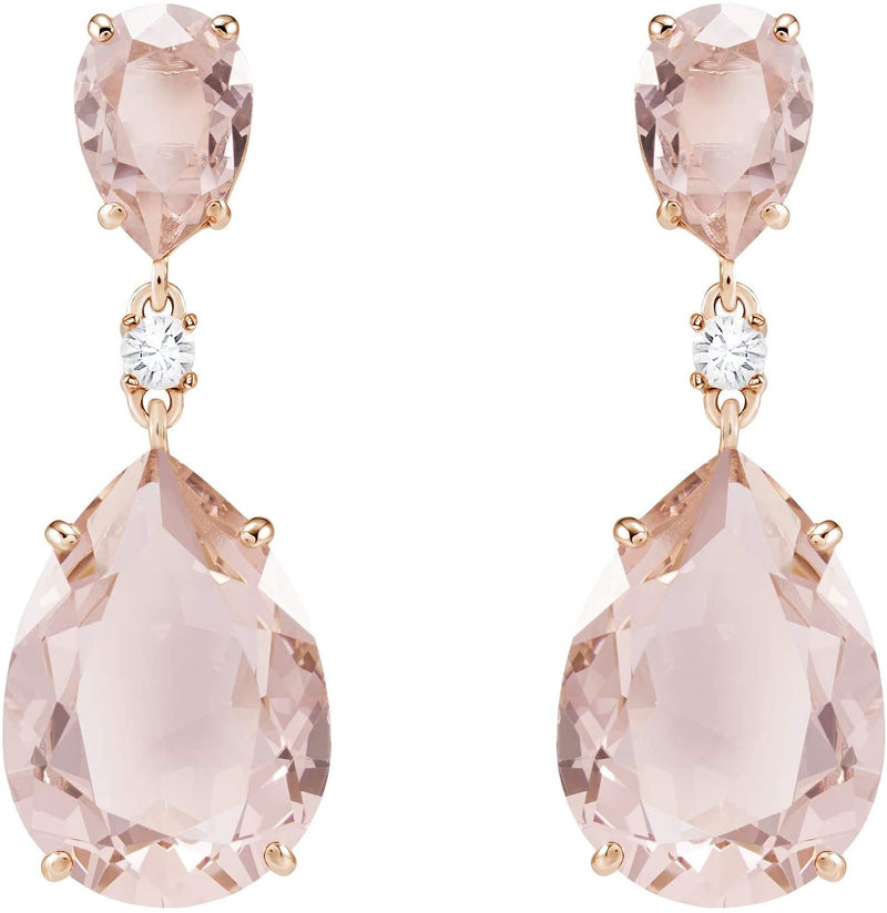 Swarovski Vintage Drop Pierced Earrings, 3.5 cm long, with Pink Crystals and Rose-Gold Tone Plated Metal, Part of Swarovski Vintage Collection