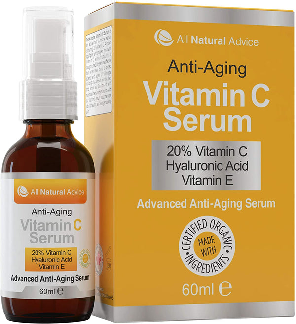 Vitamin C Serum for Face 20% with Hyaluronic Acid and Vitamin E, Anti Aging Collagen Booster, Natural Organic Skin Care for Acne Scars, Wrinkles, Fades Dark, Age Spot, Sun Damage - Jamaican Black Castor Oil & Hair Repair