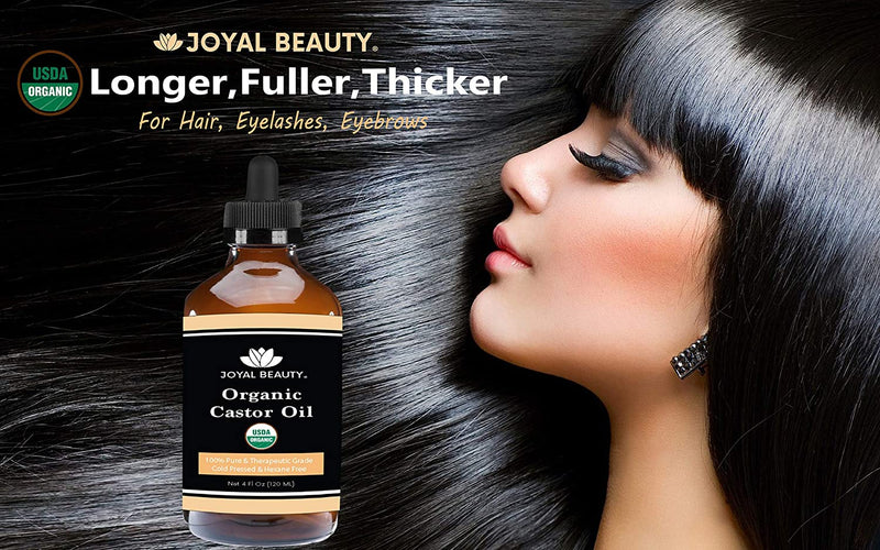 USDA Organic 100% Pure Castor Oil. Cold-Pressed Hexane-free Premium Quality Large Size for Hair Growth, Eyelashes, Eyebrows and Skin by Joyal Beauty. Bonus FREE Mascara Kit Included