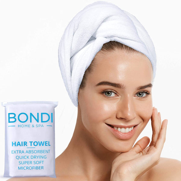 Bondi Home Spa Luxury Microfiber Hair Towel for Women – Super Absorbent, Fast Drying, Large & Soft – Perfect for Long or Curly Hair - 42 x 22 Inches