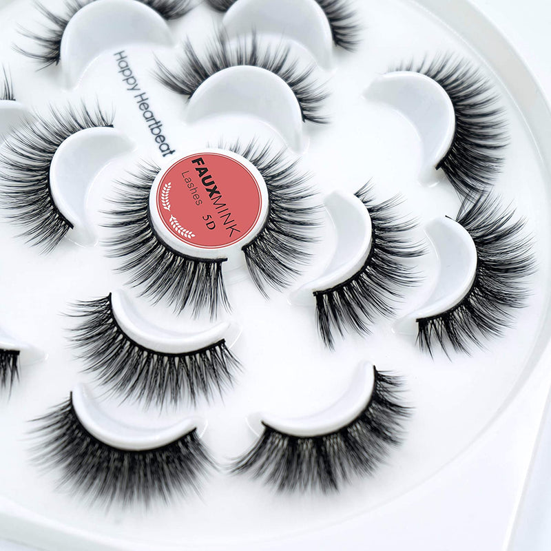Happy Heartbeat 5D Faux Mink Lashes - Handmade Luxurious Thick Volume Fluffy Natural Dramatic False Eyelashes 7 Pairs (H700)
