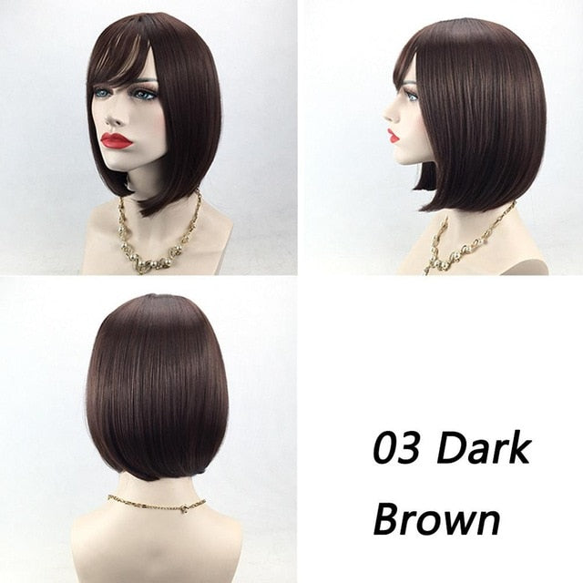 Straight Full Lace Front Hair Wigs Short Bob Wigs For Women Hair Black Blonde Brown Grey Color Hair Styling Accessory #281488 - Jamaican Black Castor Oil & Hair Repair