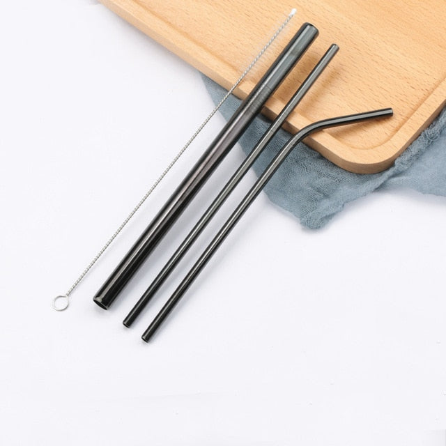 Stainless Steel Straws Reusable Straight Bent Metal Drinking Straw - Jamaican Black Castor Oil & Hair Repair