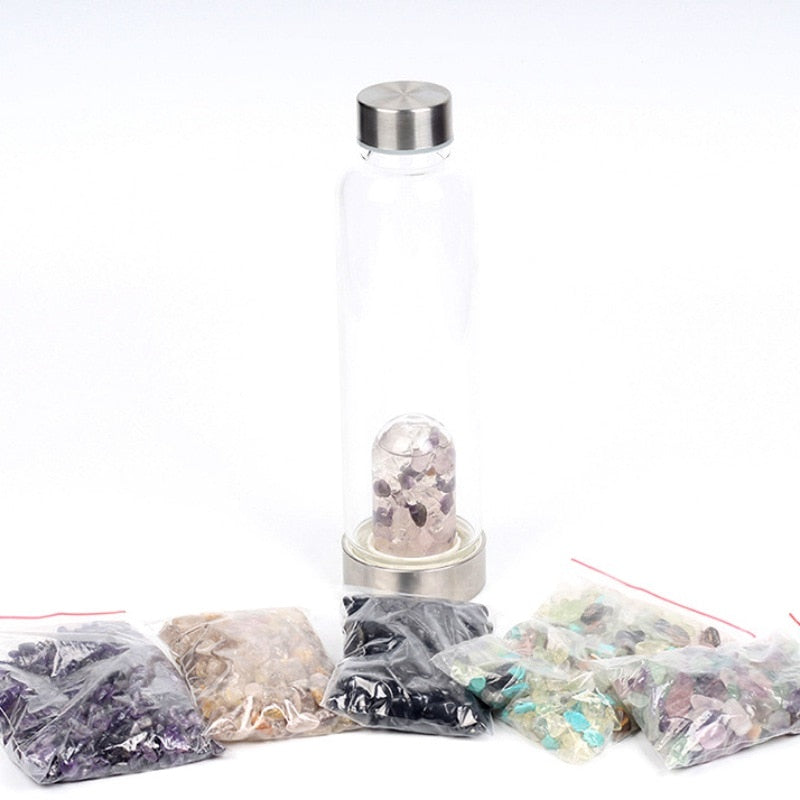Natural Quartz Crystal Glass Water Bottle Gema Point Crystal Wand Healing Reiki Healing Glass Bottle Glass Cup - Jamaican Black Castor Oil & Hair Repair