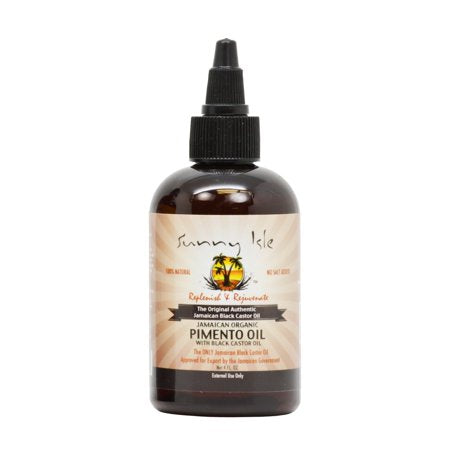 Sunny Isle Jamaican Organic Pimento Oil with Black Castor Oil, 4 Oz