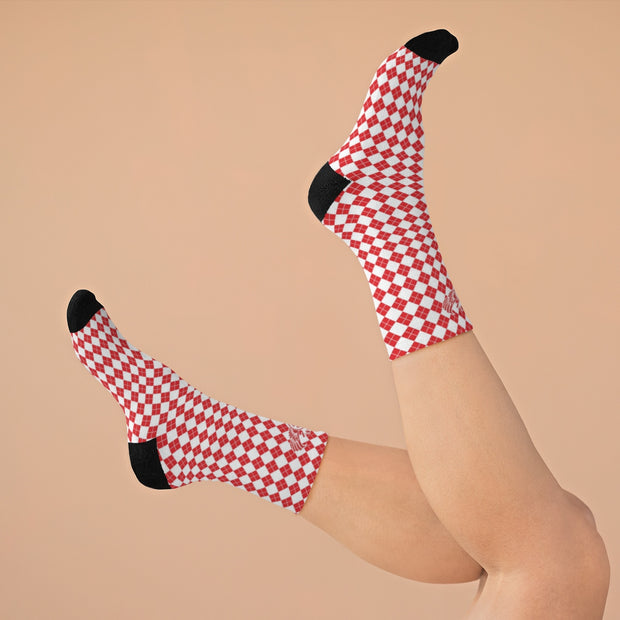 Red & White Argyle DLYSI Socks