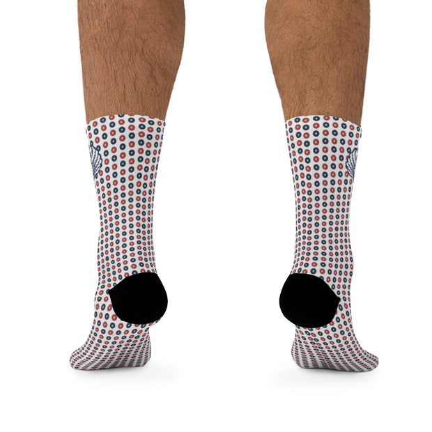 Red, White & Blue Polka Dot Stars DLYSI Socks