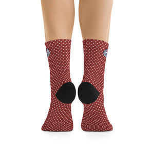 D*L*Y*S*I Red with White Stars Socks
