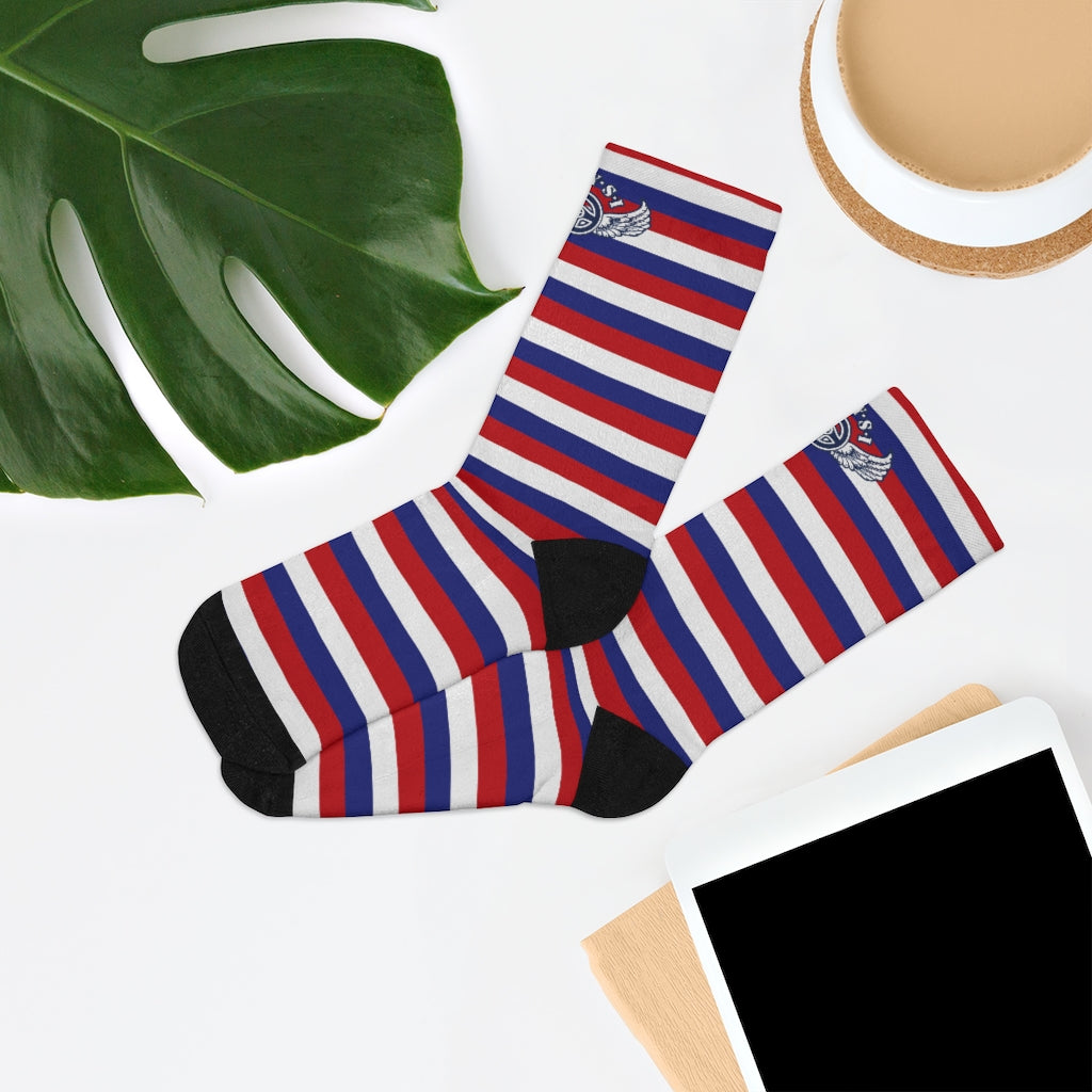 D*L*Y*S*I Red, White & Blue Stripe Socks