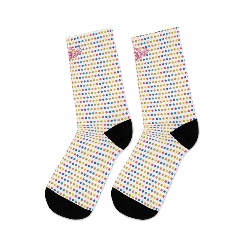 D*L*Y*S*I Yellow, Blue, & Pink Polka Dot Socks