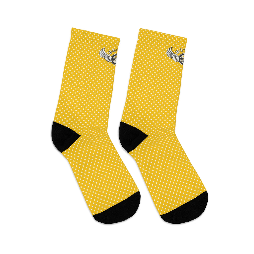 D*L*Y*S*I Yellow & White Polka Dot Socks