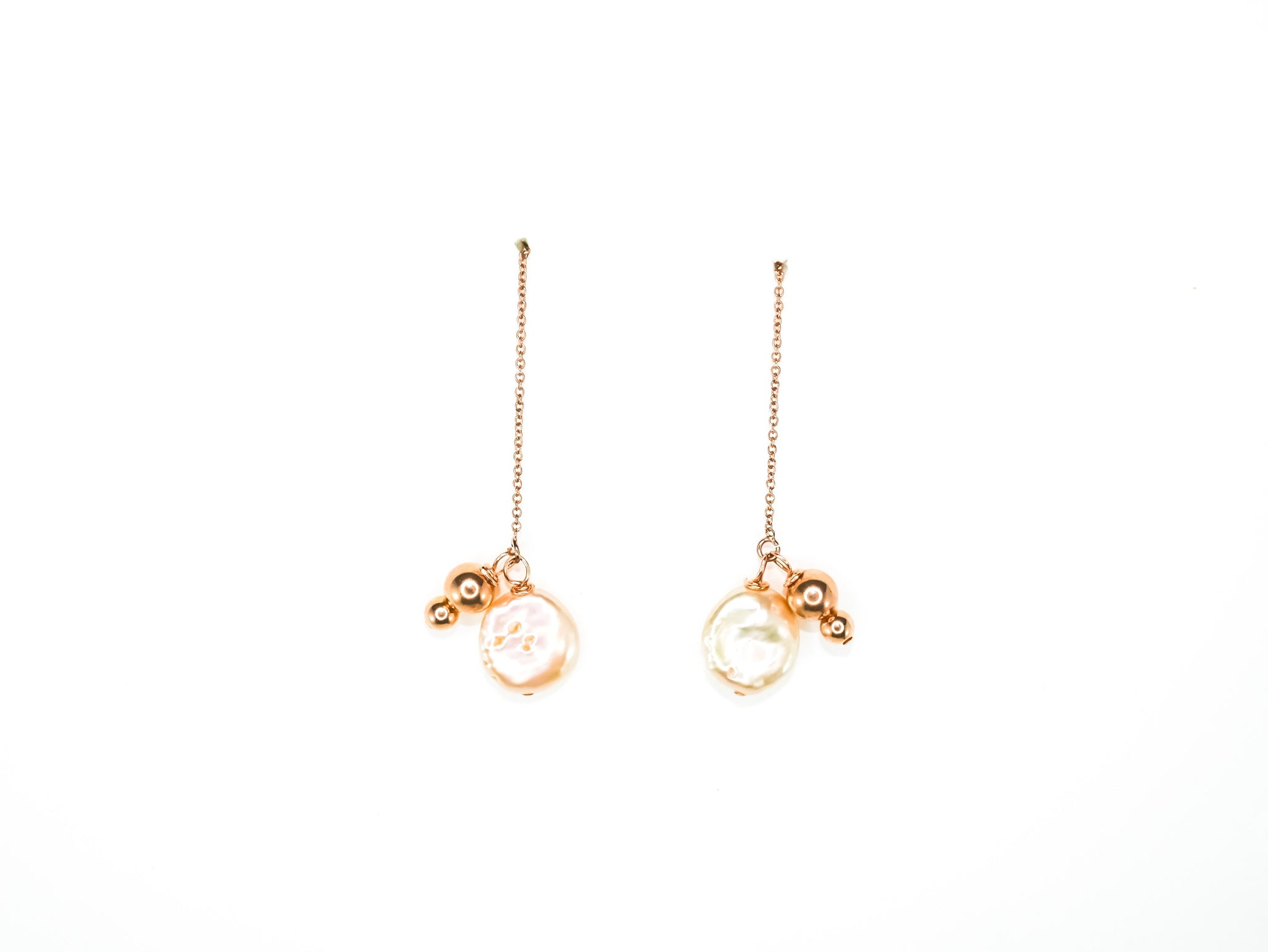 Elisa Pearl Threaders in Rose Gold