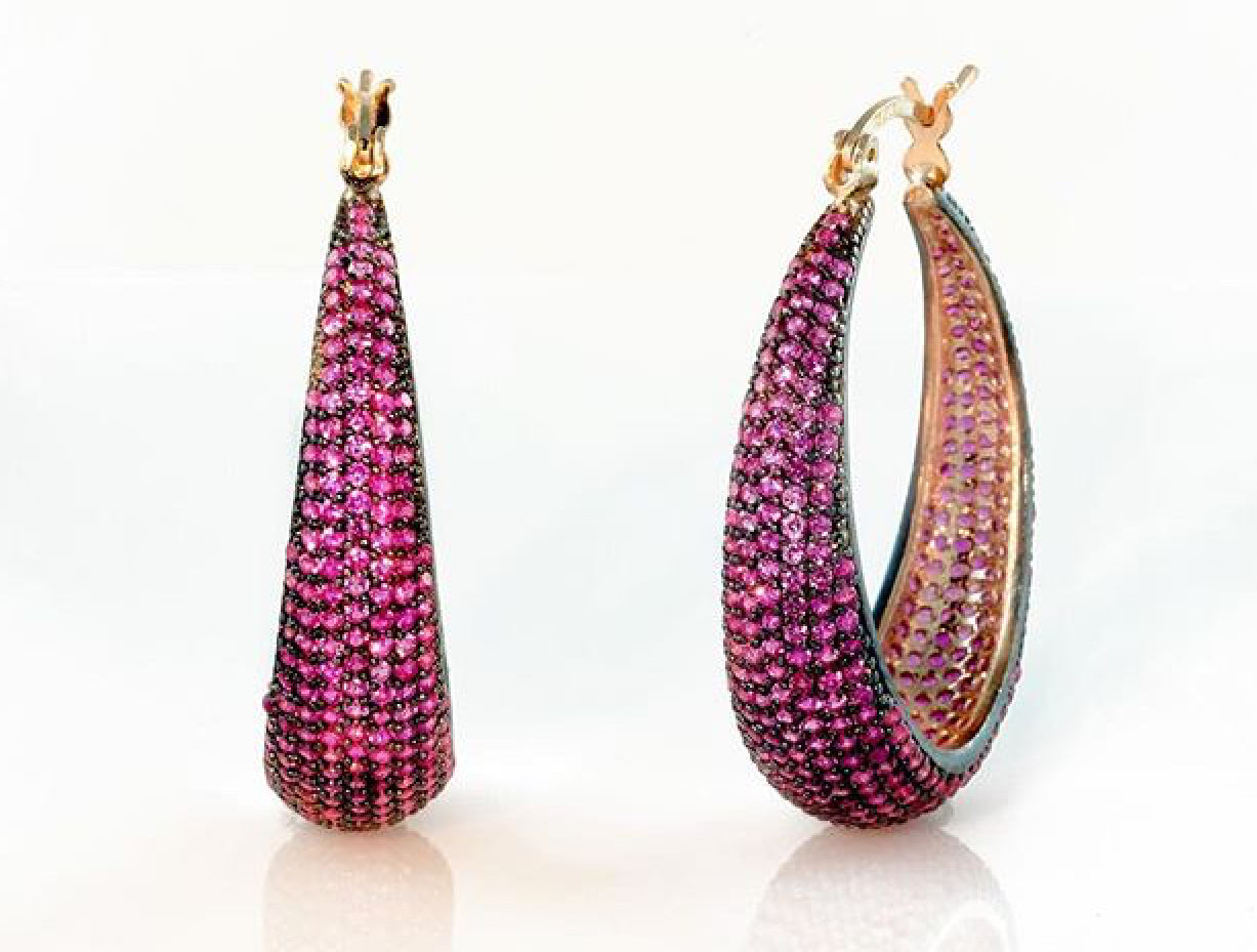 Joan of Arc Hoop Earrings in Ruby Gemstones