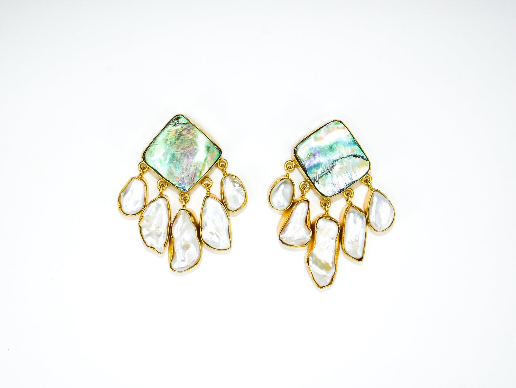 Aphrodite Earrings in Paua Shell & Pearl