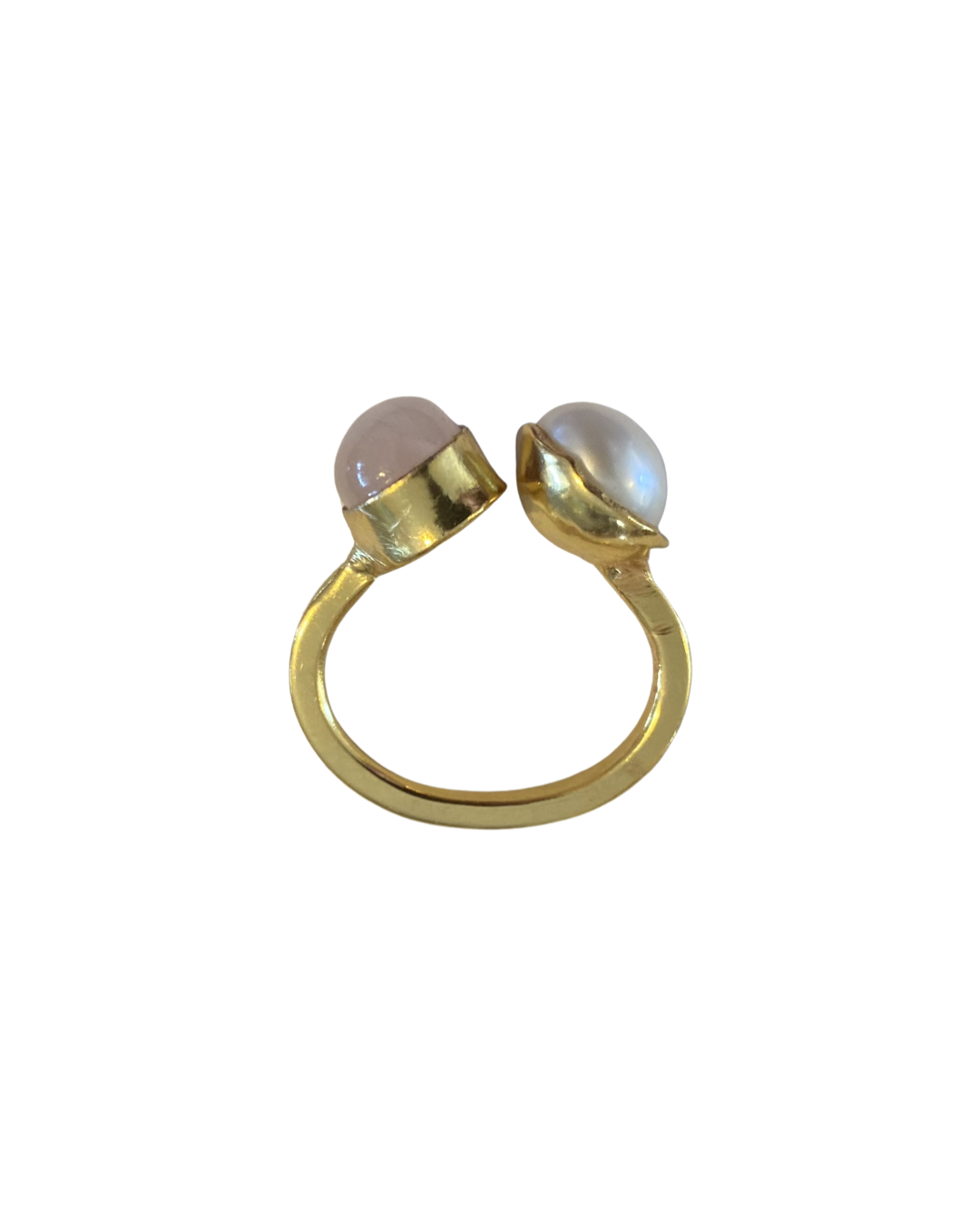 Rose Quartz & Pearl Gold Ring