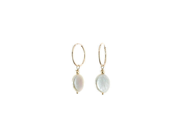 Moon Pearl Hoop Earrings