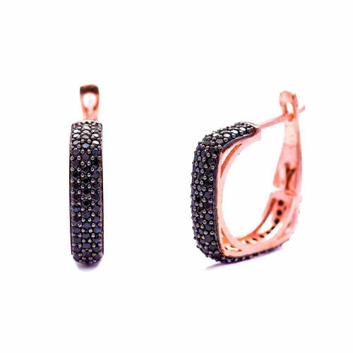 Sofia Black Onyx Gemstone Square Hoops Small