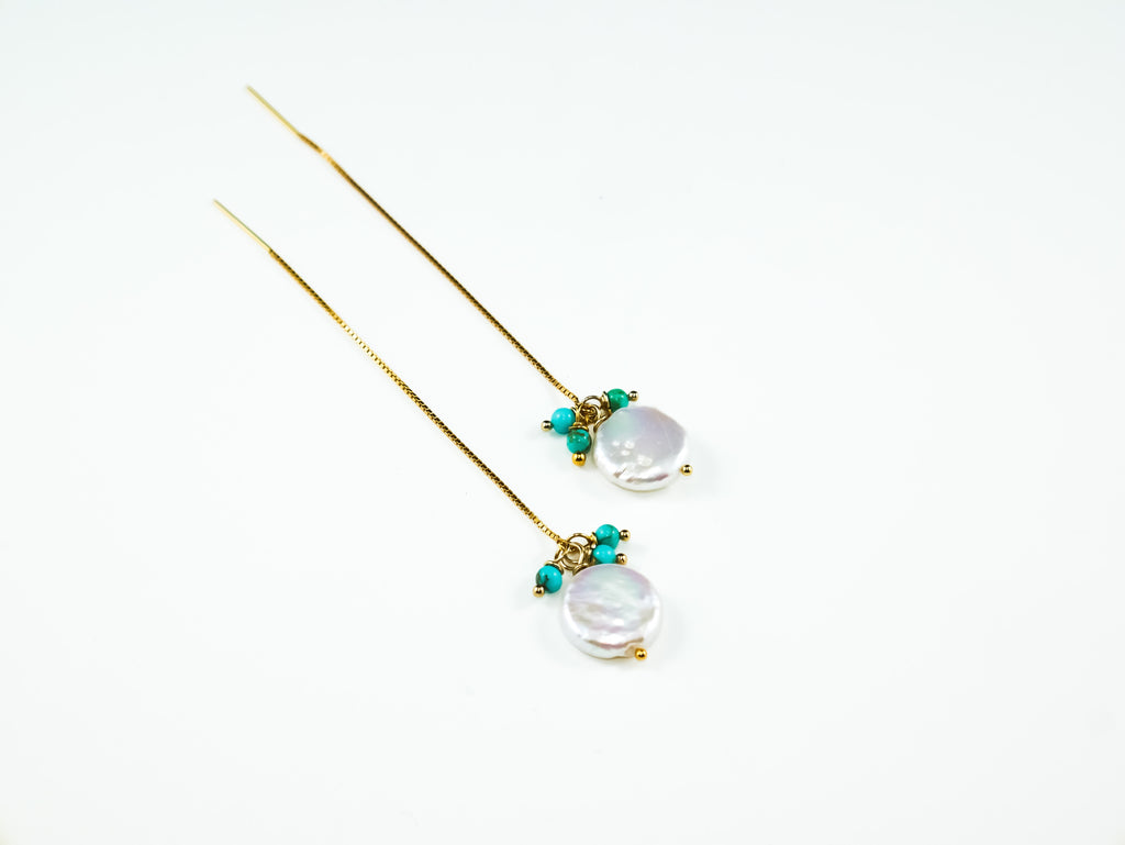 Cynthia Pearl & Turquoise Yellow Gold Threader Earrings