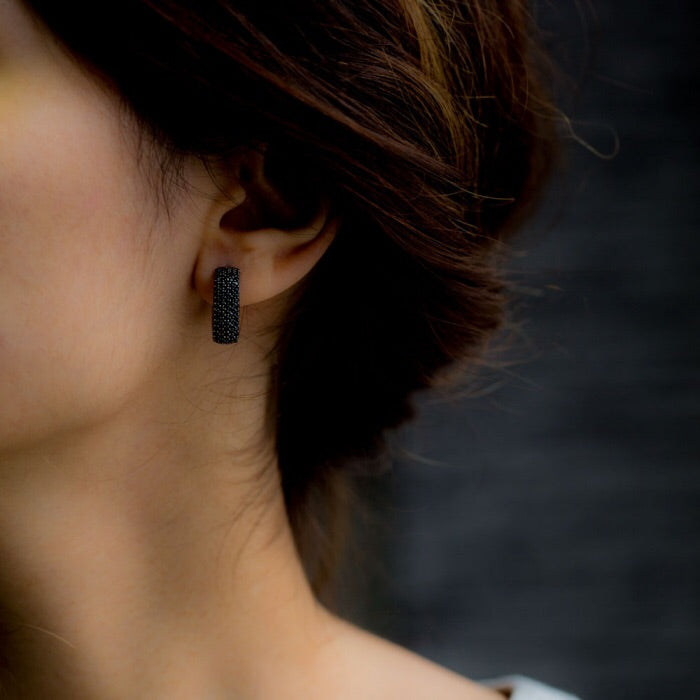 Luna Black Onyx Gemstone Square Hoops