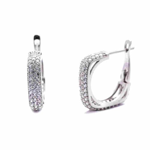 Sofia Crystal Gemstone Square Hoops Small