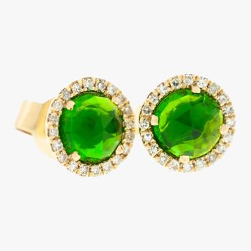 Chrome Diopside with Diamond Halo Stud Earrings