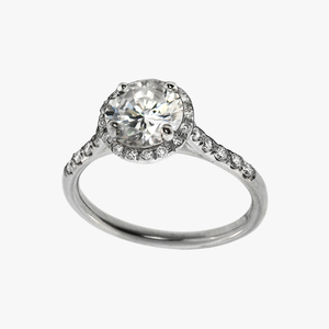 Diamond with Halo Engagement Ring