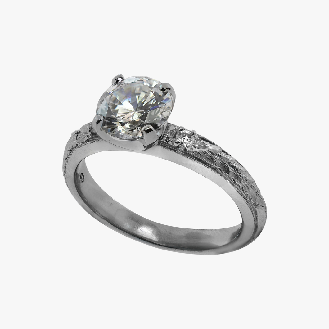 Engraved Floral and Diamond Engagement Ring