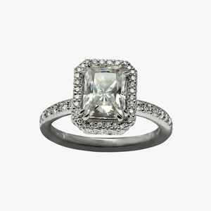 Radiant Cut Diamond and Halo Engagement Ring