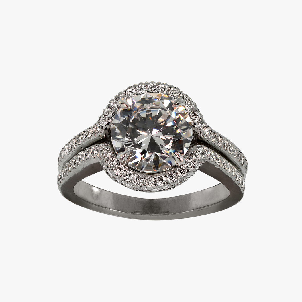 Diamond with Halo and Split-Shank Engagement Ring Setting