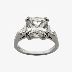 Cushion Cut with Tapered Baguettes Diamond Engagement Ring San Francisco Partita custom design jewelry