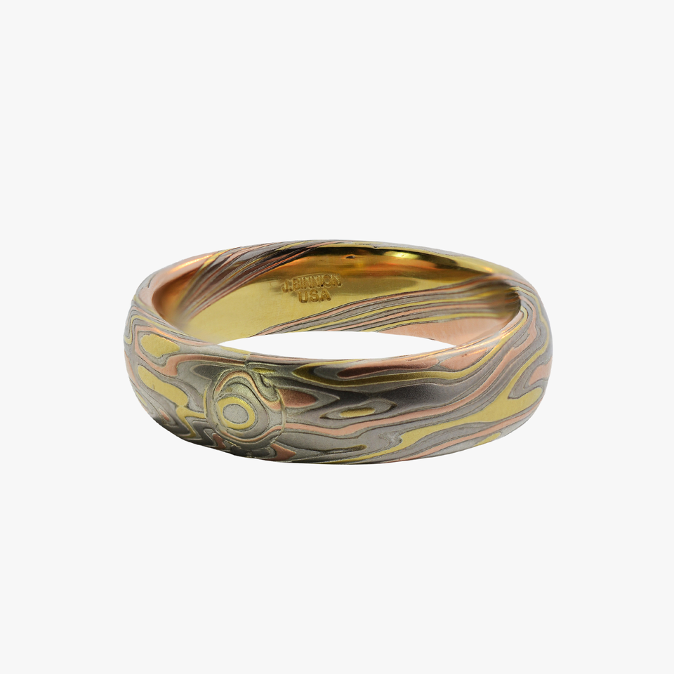 Three Gold Etched Mokume Moku Gane Men's Wedding Band Bands Ring Rings San Francisco James Bunion