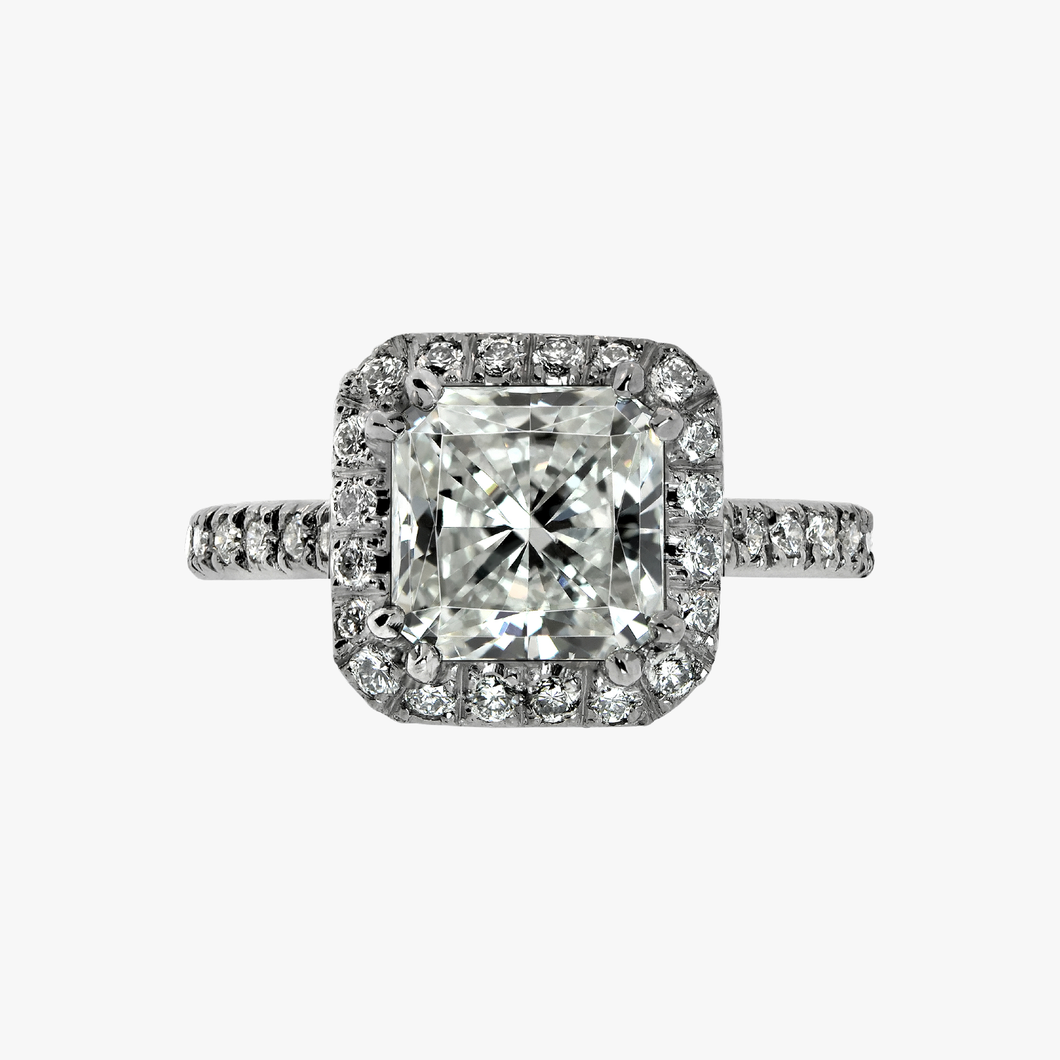 Cushion Cut Diamond with Halo Engagement Ring Rings Band Bands San Francisco Partita Custom design jewelry