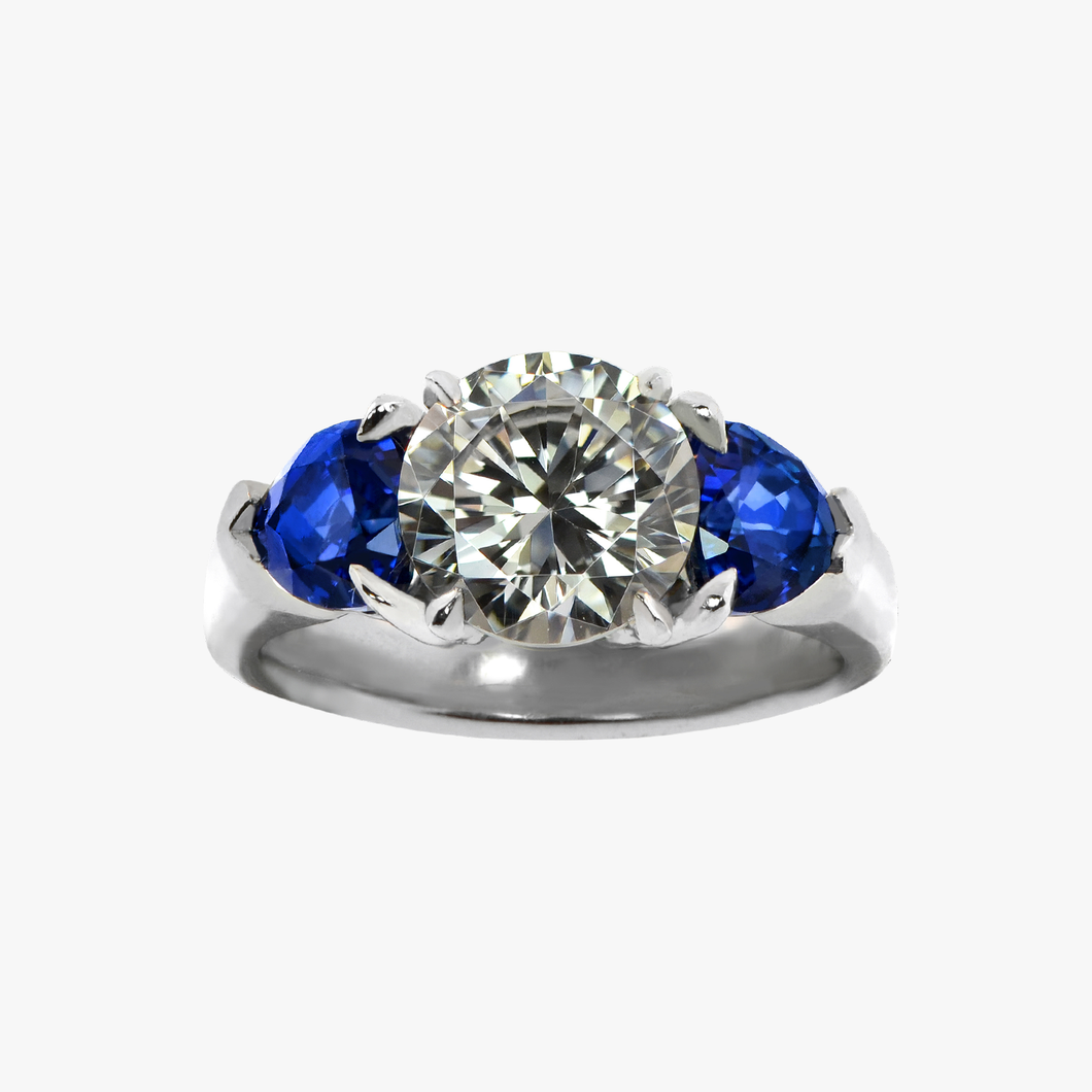 Diamond and Two Sapphire Engagement Ring