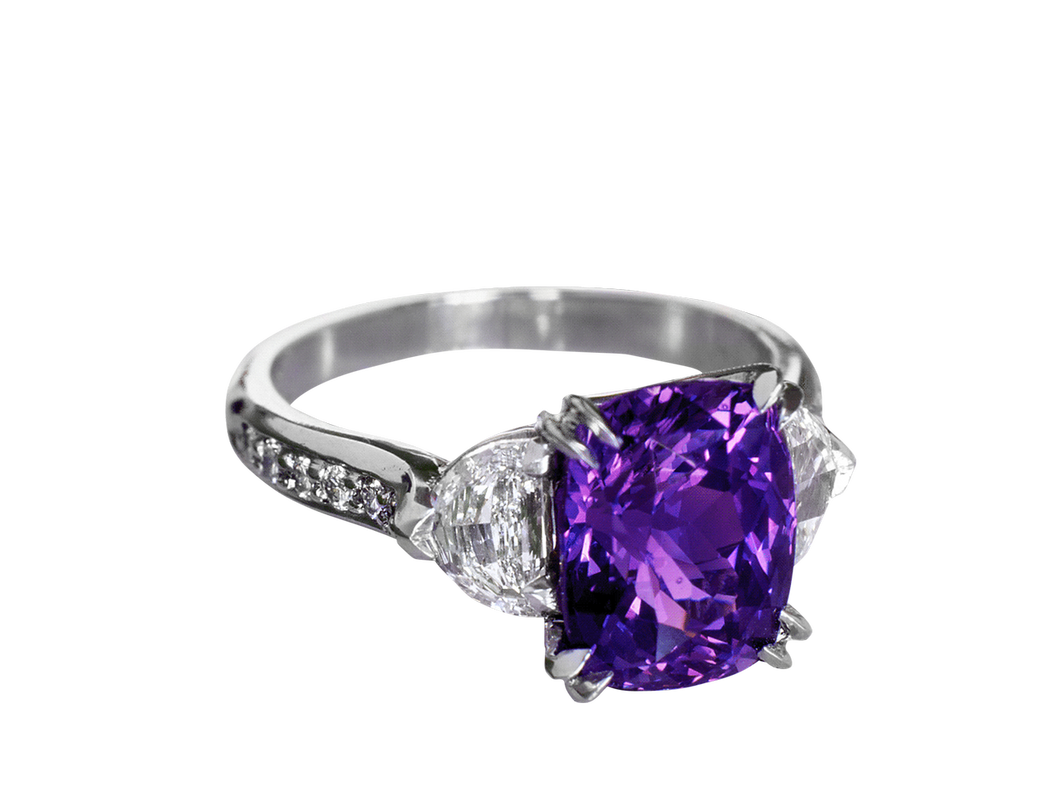 Purple Sapphire and Diamond Ring