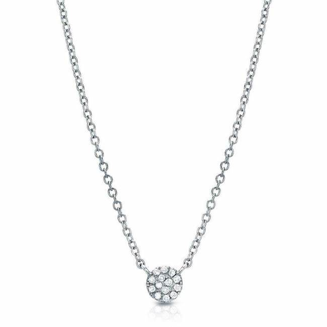 Petite Disc Pave Diamond Necklace