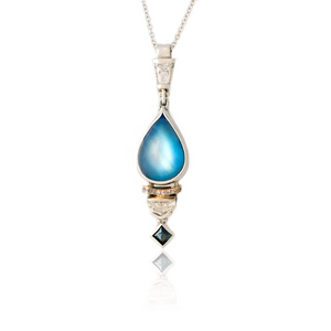 Moonstone  Pendant with Sapphire and Diamonds