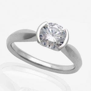 Half Bezel Set Engagement Ring Setting