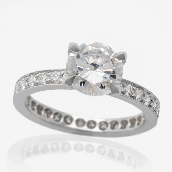 Solitaire Engagaement Ring Setting with Pave Band & Milgrain