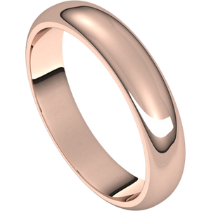 Rose Gold Half Round Wedding Band: 4mm