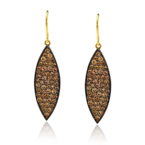 Cognac Diamond Teardrop Earrings