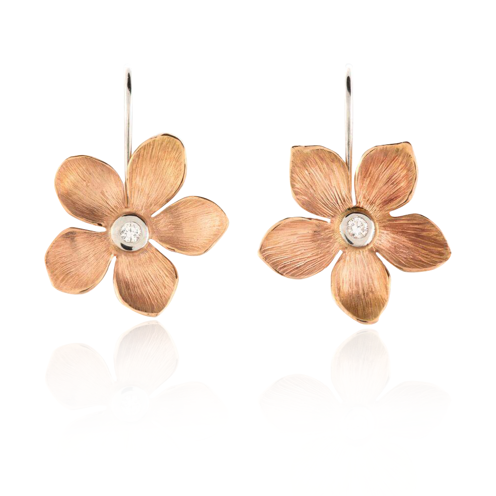 Rose Gold Flower Earrings
