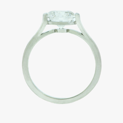 Half Bezel Set Platinum Engagement Ring