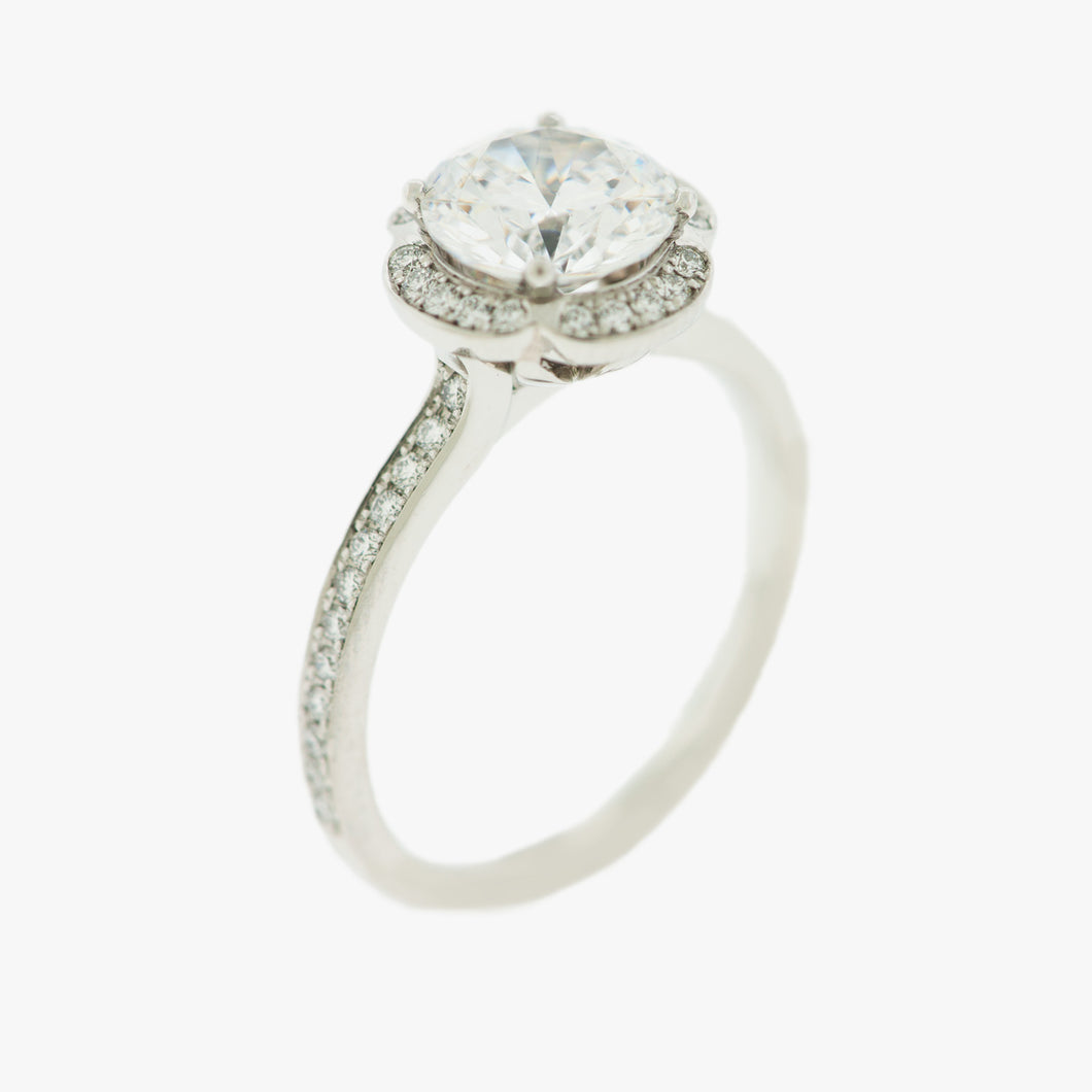 Engagement Ring Unique classic solitaire platinum San Francisco Partita custom design jewelry