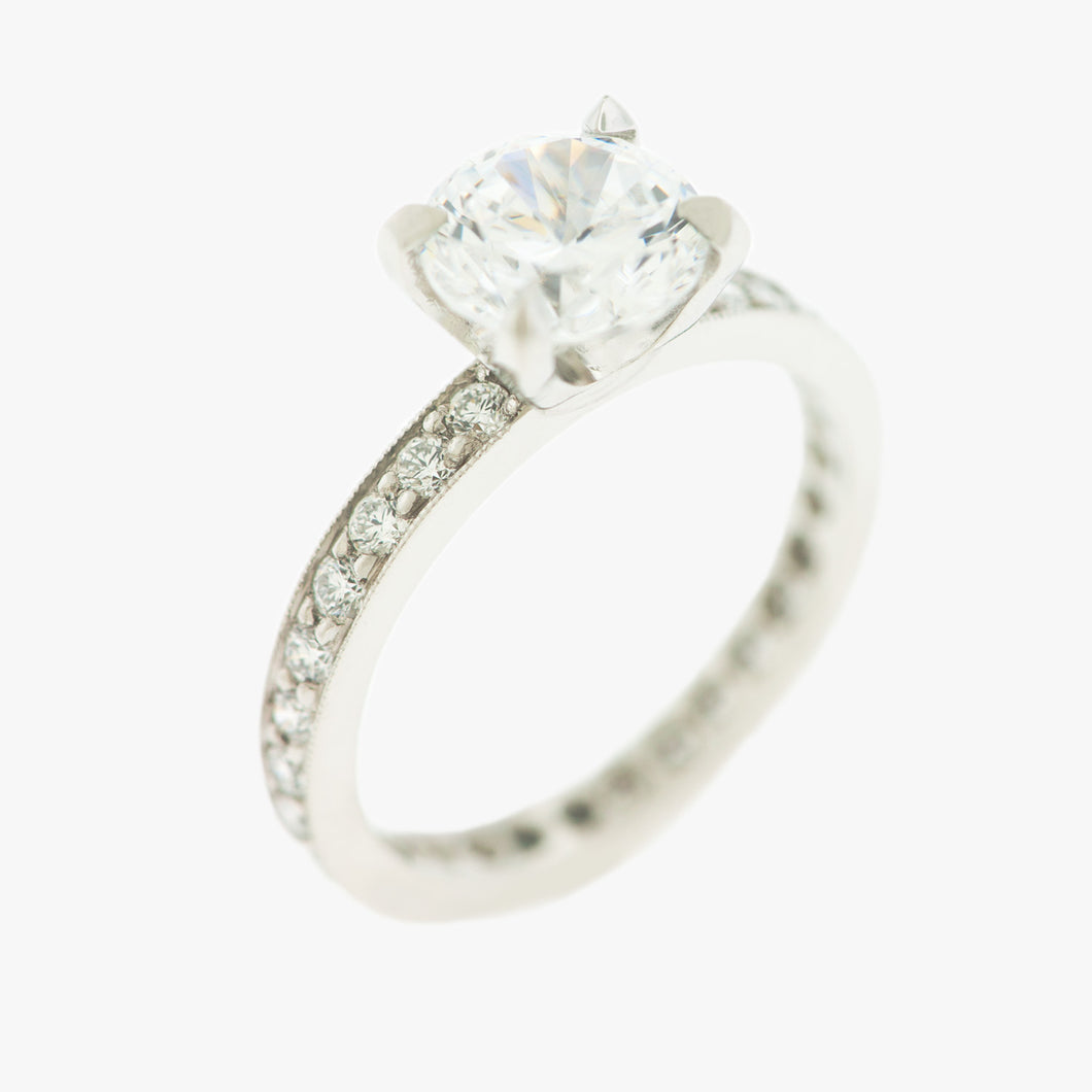 Solitaire Engagement Ring Pave Band San Francisco Partita custom design jewelry
